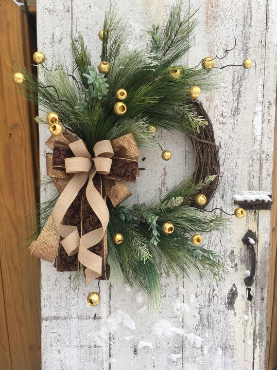 Artificial Christmas Wreaths.Christmas Wreaths For Front Door Gold Christmas Wreath Artificial Christmas Wreath Rustic Christmas Elegant Christmas Wreath