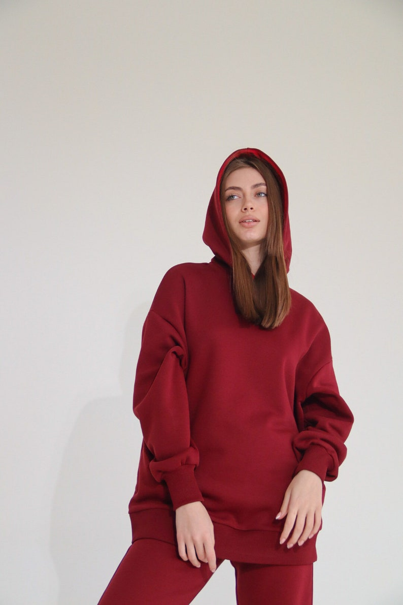 mothers day gift Streetwear hoodie mothers day gift cotton sweater Basic red Sweatshirt