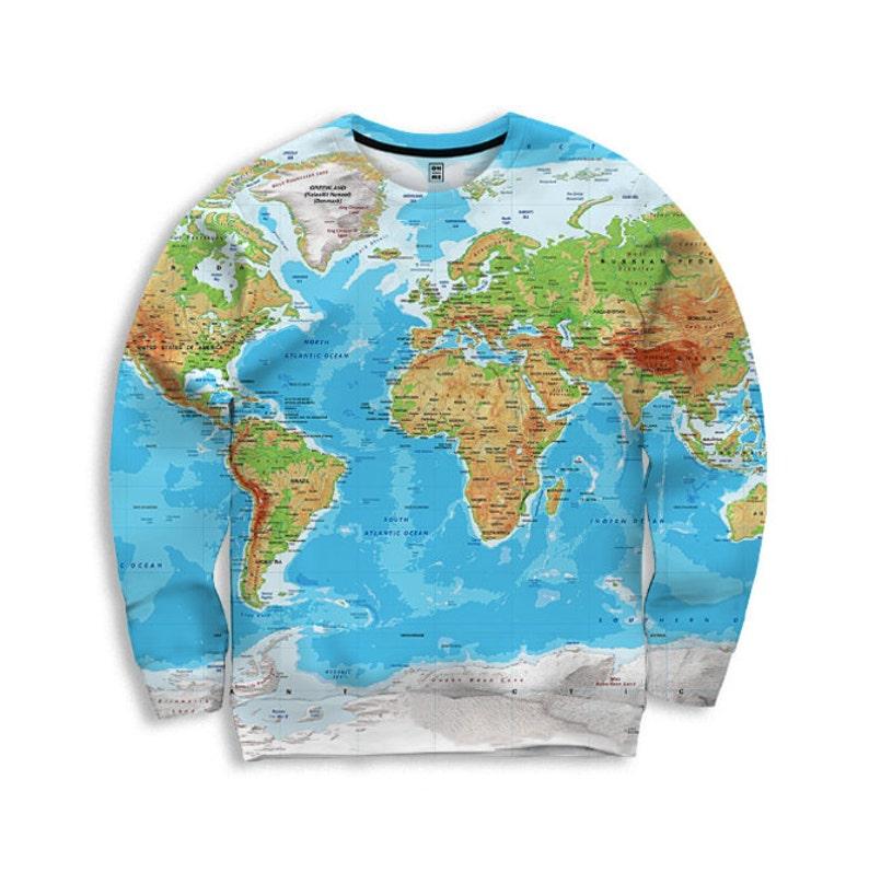Sweatshirt World Map Sweatshirt Globe Print All Over Print Etsy