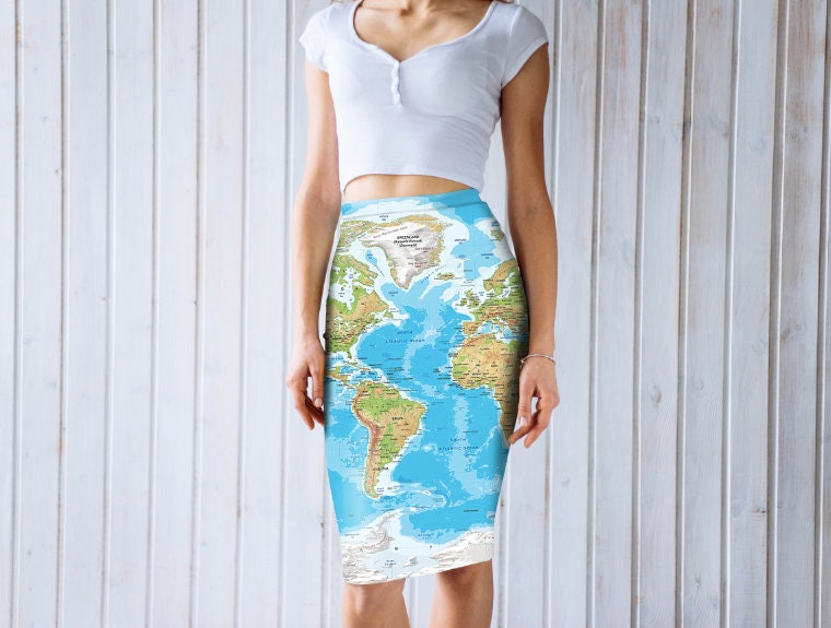 Skirt With Full World Map Print Gift For Her Gift Ideas From Etsy
