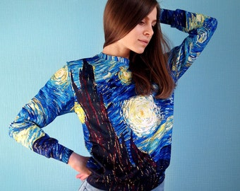 """Unisex full printed sweatshirt, sweater """"Van Gogh The Starry Night"""" gift for her gift for him gift ideas"""