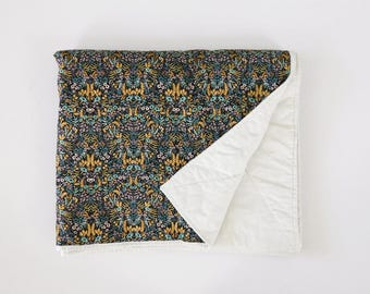 TAPESTRY in NATURAL Tummy Time Quilt rifle paper quilt floral blue tummy time mat heirloom baby gift Rifle Paper Co Canvas Baby Quilt