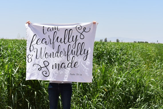 Fearfully and Wonderfully Made Blanket-Pslam 139-Personalized Baby Blanket-Scripture Blanket-Floral Blanket-Baby Girl-Baby-Watercolor Floral