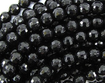 """8mm faceted black onyx round beads 15"""" strand 33399"""
