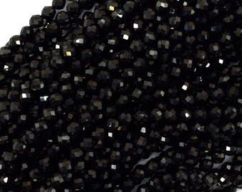 """4mm faceted black spinel round beads 15.5"""" strand 39680"""