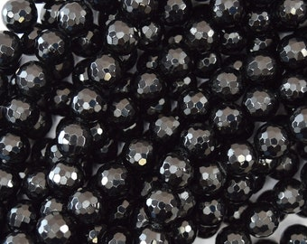 """8mm faceted black tourmaline round beads 15.5"""" strand A grade 40190"""