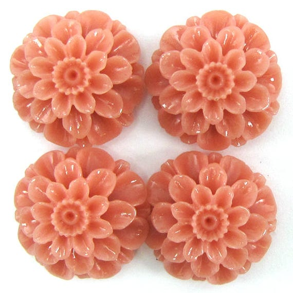 24mm synthetic green coral carved chrysanthemum flower pendant bead 4pcs 14251