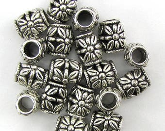 18 11mm silver plated pewter spacer barrel beads findings 39002
