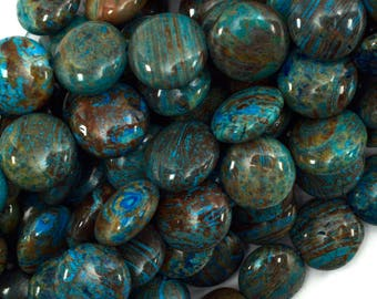 "12mm brown blue turquoise coin beads 15.5"" strand 39495"