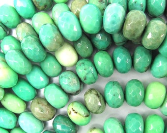 "10mm faceted green chrysoprase rondelle beads 15"" strand 35036"