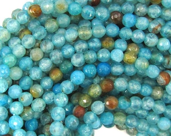 """6mm faceted blue crab fire agate round beads 15"""" strand 32303"""