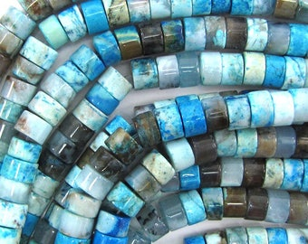 """8mm blue crazy lace agate heishi beads 15.5"""" strand 33491"""