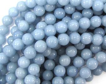"10mm blue angelite round beads 16"" strand 31420"