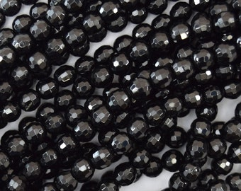 """5mm faceted black tourmaline round beads 15.5"""" strand A grade 40188"""