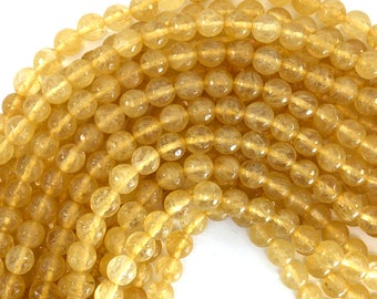 """8mm faceted pineapple quartz round beads 15"""" strand 39218"""