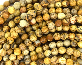 """4mm faceted picture jasper round beads 15"""" strand 36805"""