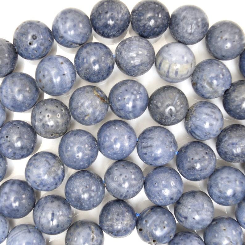 12mm blue sponge coral round beads 15 strand 38346