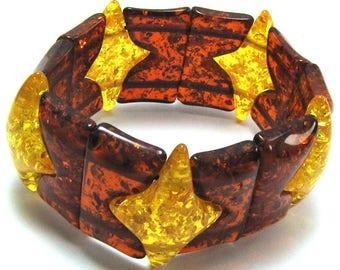 "33mm multicolor synthetic honey amber stretch bracelet 8"" 15634"