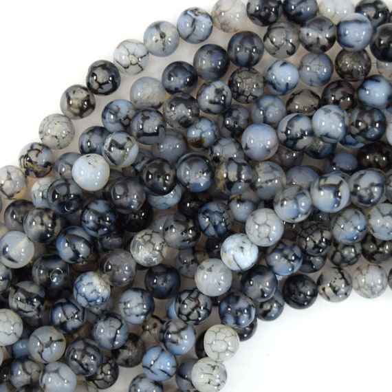 8mm White Black Dragon Veins Agate Gemstone Round Loose Beads 15/'/'