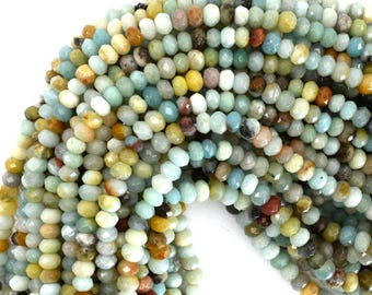 """6mm faceted amazonite rondelle beads 15.5"""" strand 39288"""
