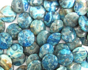 """16mm blue crazy lace agate coin beads 16"""" strand 33182"""