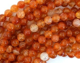 """8mm orange dragon vein agate round beads 15"""" strand"""