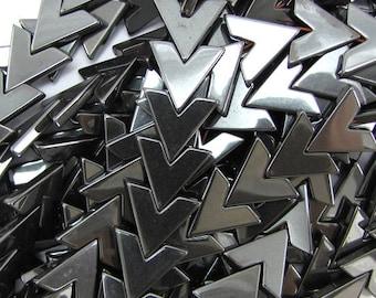 "16mm hematite triangle arrow beads 16"" strand 15564"