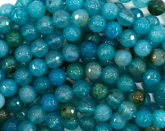"""8mm faceted blue crab fire agate round beads 15"""" strand 36400"""
