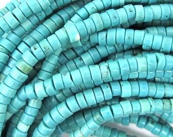 "4mm blue turquoise heishi beads 16"" strand S2 35289"