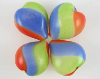 21mm multicolor blown hollow glass heart beads 4pcs 3651