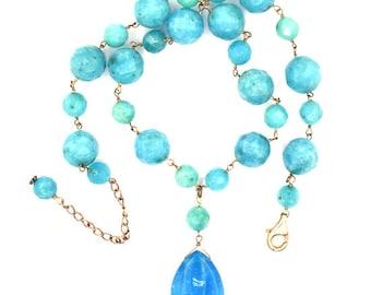 "12mm faceted blue quartz round beads necklace 16"" 37112"