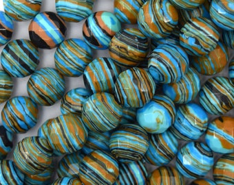 """10mm faceted blue rainbow calsilica round beads 15"""" strand 40029"""