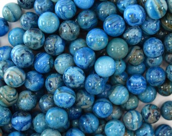 """10mm blue crazy lace agate round beads 15.5"""" strand 34456"""