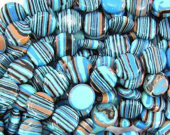 "14mm blue rainbow calsilica coin beads 15.5"" strand 32352"