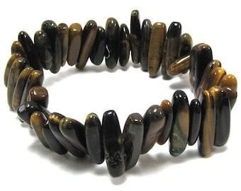 """25mm tiger eye stick stretch bracelet 8"""" 30248"""