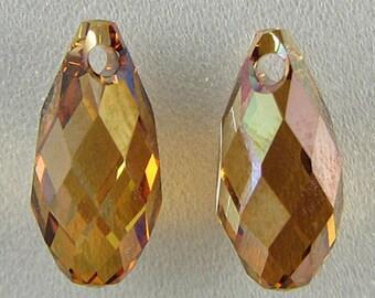 2 11mm Swarovski crystal briolette pendant 6010 copper 2815