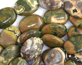 "18mm green rhyolite flat oval beads 15"" strand 36623"