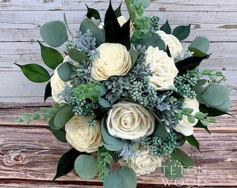 Sola Flower Bouquet Preserved Flowers Bohemian Bouquet  Wedding Bouquet Vintage Book Page Flowers Sola Wood Bouquet