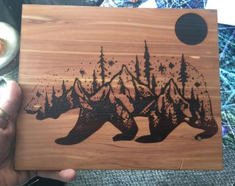 Bear totem Full Moon starry sky mountain love engraved on cedar
