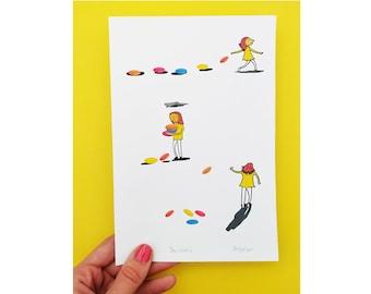 A5 illustration print,gifts under 10,digital art print,small artwork,cute illustration,gift for him,gift for her,yellow,fun illustration