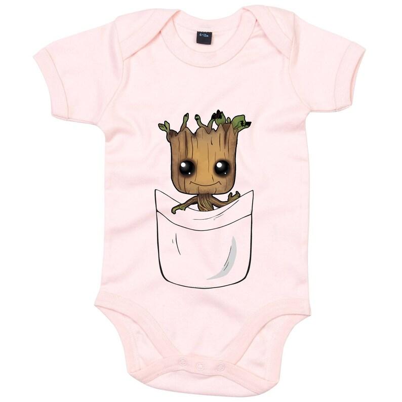 307c193ae6 Pocket Groot Guardians of the Galaxy Trendy Onesie Baby Groot