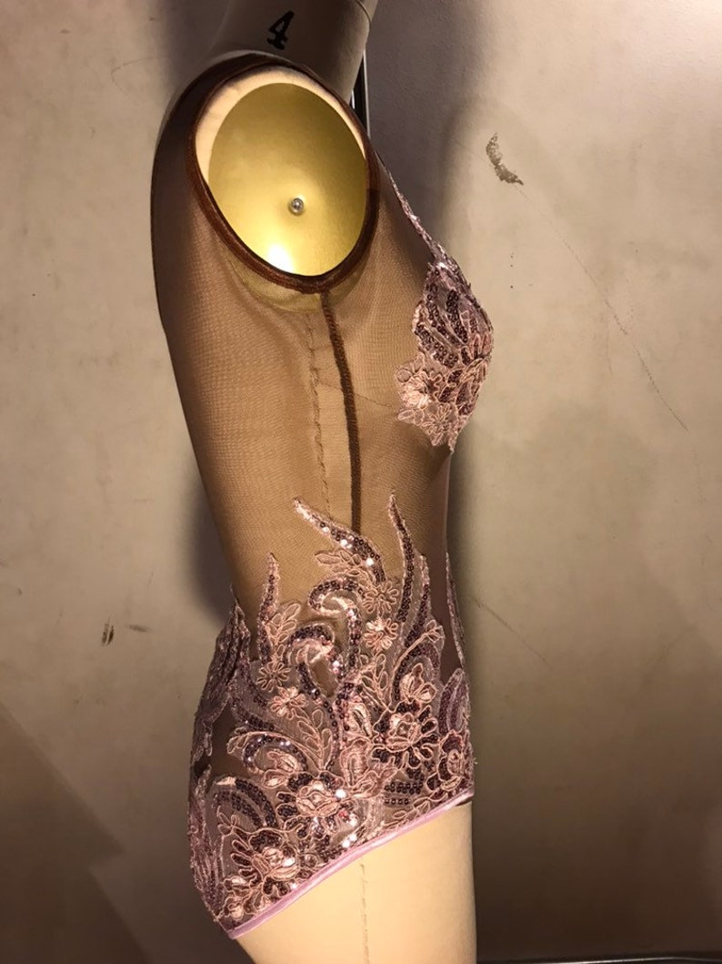 XS Pale Pink Sequin Lace and Dark Tone Mesh Leotard