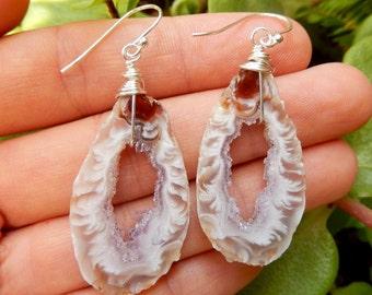 Amethyst Geode Slice Earrings Sterling Silver Wire Wrap Agate Crystal Quartz Druzy Jewelry Argentium Boho Festival Free Shipping