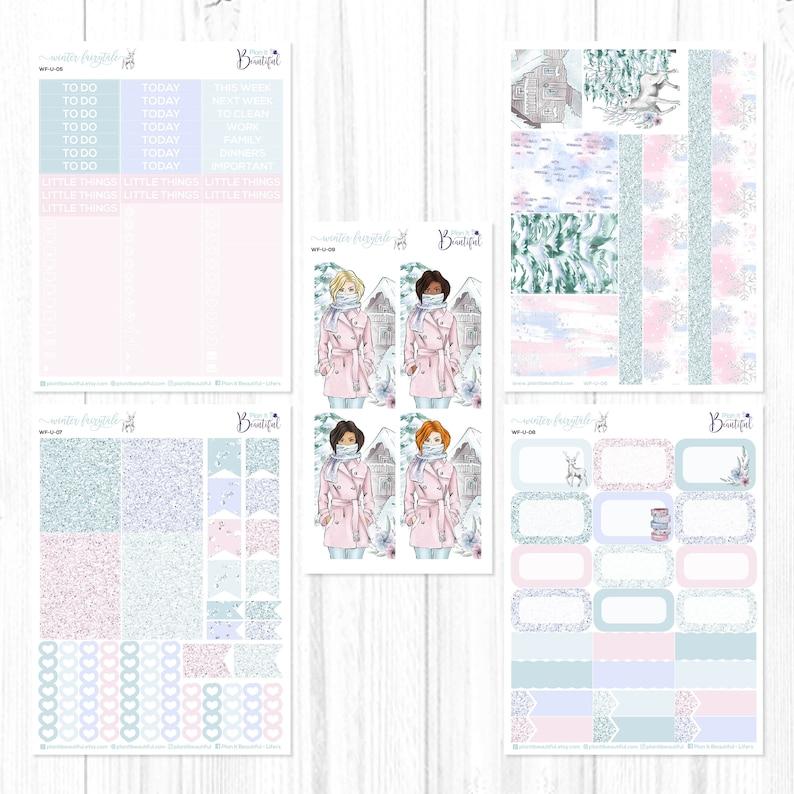 Winter Fairytale Stickers for Erin Condren Vertical Life Planner Ultimate Weekly Kit Premium Matte Paper /& Removable Vinyl