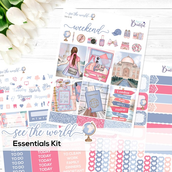 See The World Essentials Kit Premium Matte Paper And Removable Vinyl Matte Or Glossy Stickers For Erin Condren Vertical Life Planner