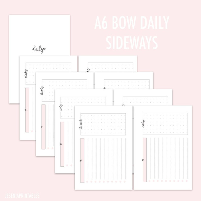 A6 Bow Daily Sideways Pink - RINGS