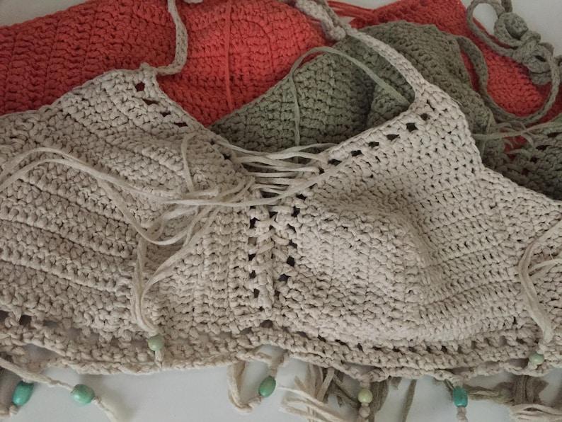 Fringe crochet top bralette xs-m
