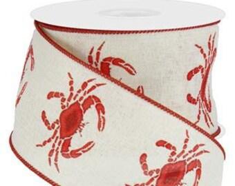 """1.5"""" x 10Yds - Crab Ribbon on Royal, Crab ribbon, Crab ribbons, lobster ribbon, lobster ribbons, Nautical ribbon, Mardi Gras Ribbon"""