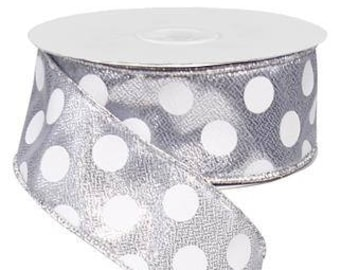 1.5 x 10 yards, Silver Polka Dot Wired Ribbon, Silver Ribbons, Silver Ribbon, Silver polka dot ribbon, ribbon, ribbon, polka dot ribbon