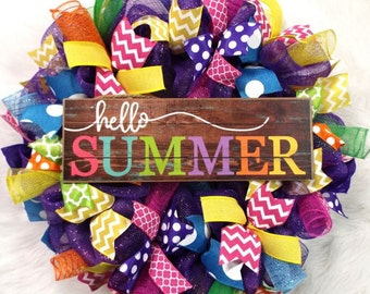 Summer Wreath, Summer Decor, flip flop wreath, summer flip flop wreath, wreath, colorful wreath, bright wreath, summer decor